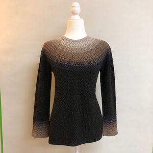 J. Jill ombré crew neck knit sweater cotton silk
